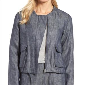 NWT Halogen Denim Linen Bomber Jacket Navy Med